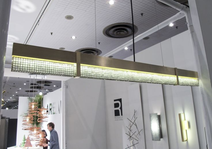 New Linear Brass LED Pendant with custom CRUSH diffuser shown at #ICFF2014 #customlighting #ridgelystudioworks