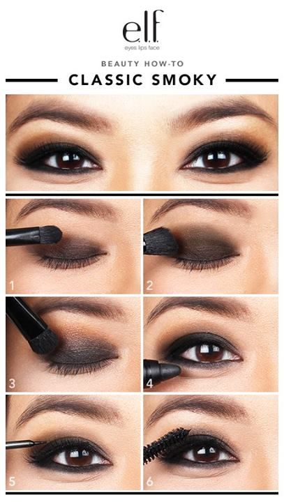 One of the classic makeup looks using elf Cream Eyeshadow, Eyeliner Crayon and Mineral Infused Mascara! #howtosmokey