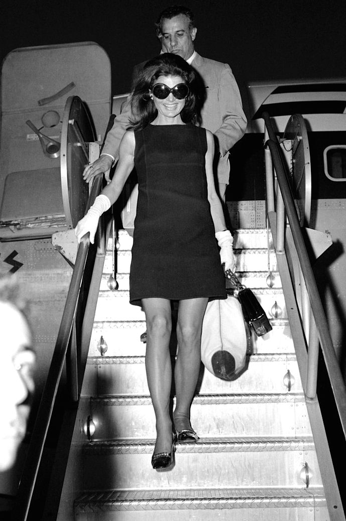 Jacqueline Kennedy Onassis arriving at JFK after a weekend on the Greek island of Skorpios, 1969.