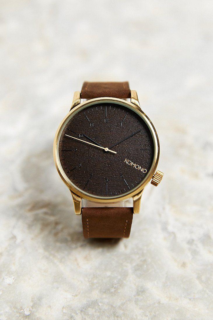 KOMONO Winston Gold Wood Watch - Urban Outfitters