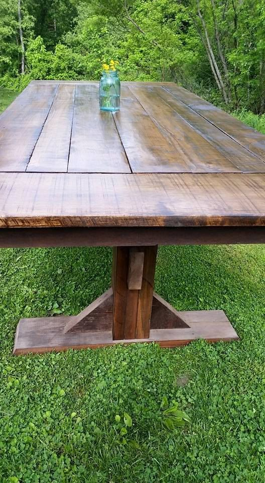 Farmhouse Trestle Table with Reclaimed Barn by WoodenWhaleWorkshop