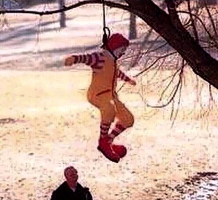 Mckill myself, suicide, hang Ronald McDonald meme