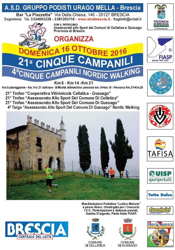 """Domenica 16 ottobre si corre la 21^ edizione della """"Cinque campanili"""" - http://www.gussagonews.it/cinque-campanili-ottobre-2016/"""