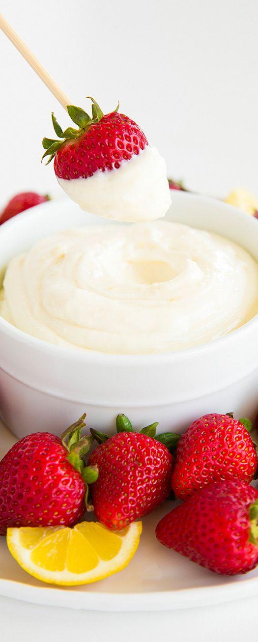 Lemon Cream Fruit Dip ~ DELICIOUS!! Cream cheese, marshmallow fluff, lemon zest/juice and lemon extract. So easy to make.