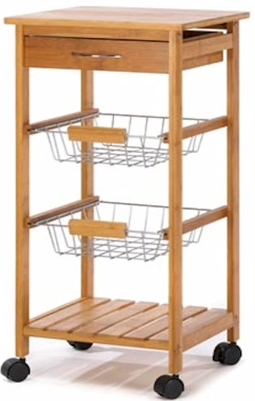 Osaka Kitchen Cart...  The rolling cart is a perfect fusion of fashion and function, with a sleek tower silhouette containing a solid bamboo top, utensil drawer, two baskets and a bamboo shelf.  Bamboo and chrome plated metal. $79.  SALE $67.00