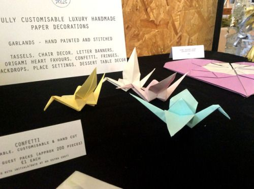 Some wee origami cranes hanging out!  Luxury handmade wedding decor by Paper Street Dolls  Check out our store - paperstreetdolls.etsy.com