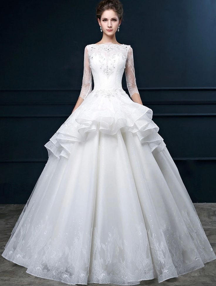 sweetheart ruffle organza wedding dresses long sleeves high neck    ME74