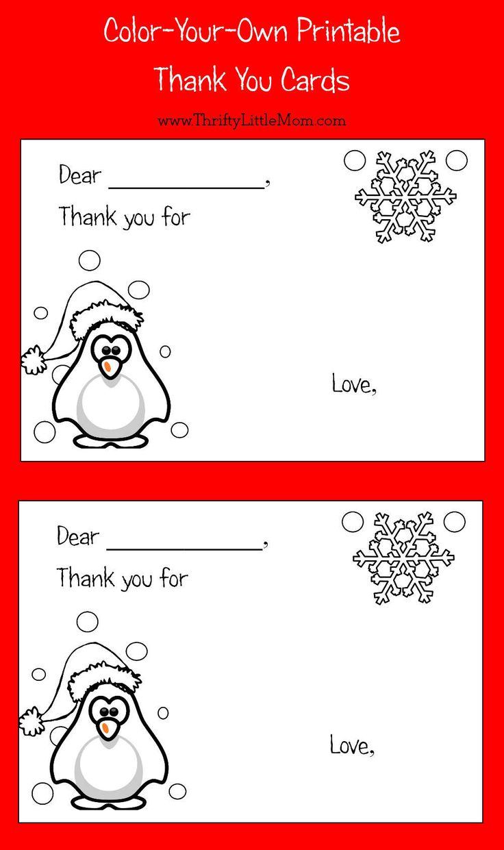 ColorYourOwn Printable Thank You Cards for Kids Colors