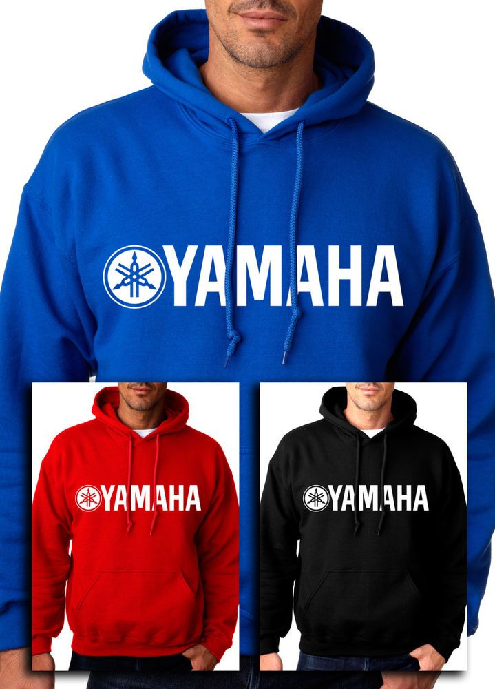 Yamaha Racing Hoodie Motocross Atv White Logo Yzf Hooded
