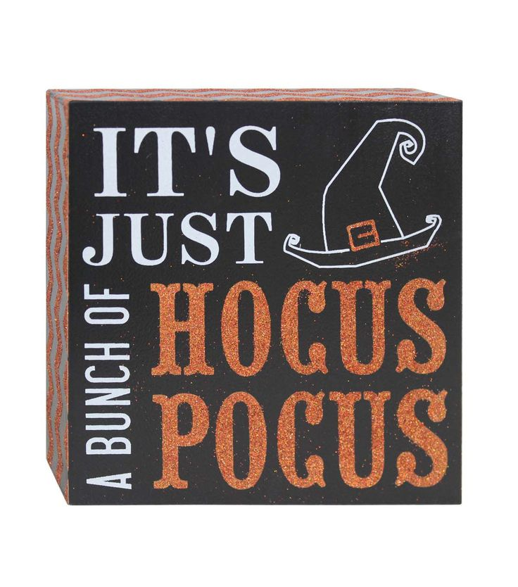 Accentuate the decor theme of your table or mantel for a fun Halloween party with decorative accents like the Makers Halloween Word Block Table Decor-Hocus Pocus. This square table decor word block fe