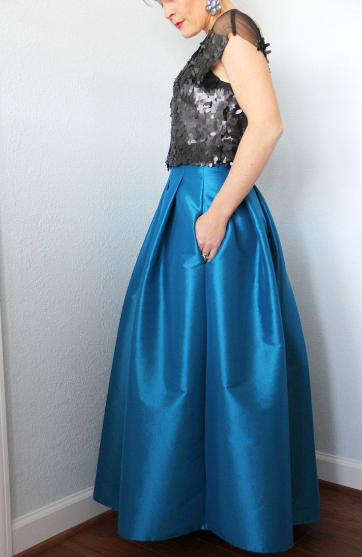 Top stitched pleated maxi skirt DIY || how to sew a formal maxi skirt for a fancy occasion