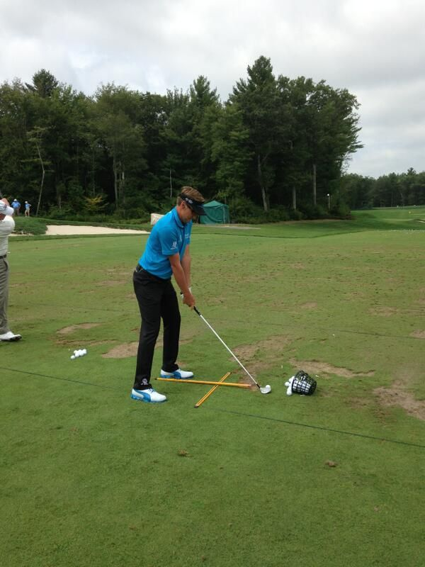 Ian Poulter getting in a little range work