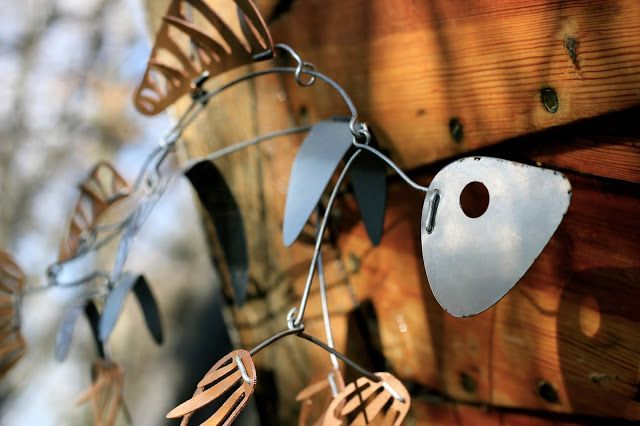 Wire in the City: Metal Fish mobile sculpture. Alexander Calder inspired.
