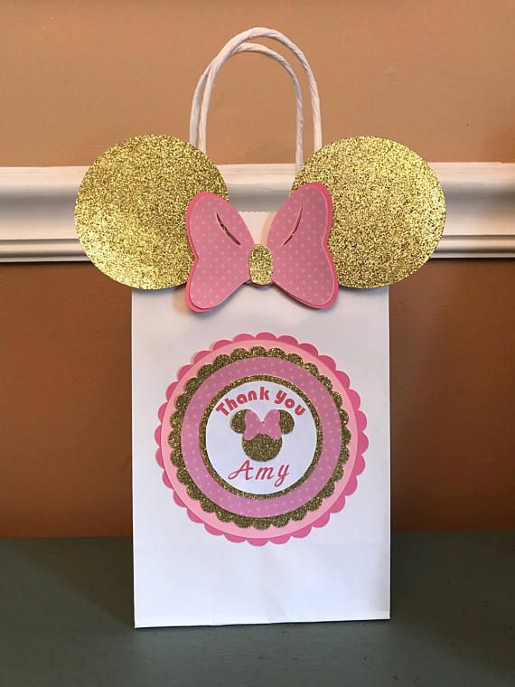 Pink And Gold Minnie Mouse Goody Bags Perfect For Your A Birthday Party Or Gift With Ribbon Bow Made