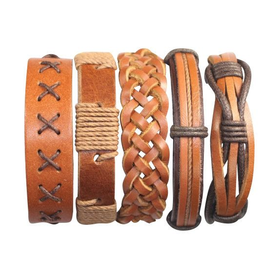 5 Piece Mens Leather Bracelet Women's Braided by BraceletStreetUSA