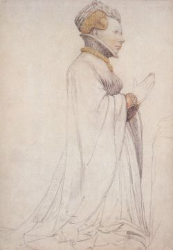 1523-4 drawing by Hans Holbein the Younger of statue -- ca. 1416 statue of Jeanne de Boulogne, Duchess of Berry (c.1378-c.1424), by Jean de Cambrai (d.1438), currently situated in the Bourges Cathedral