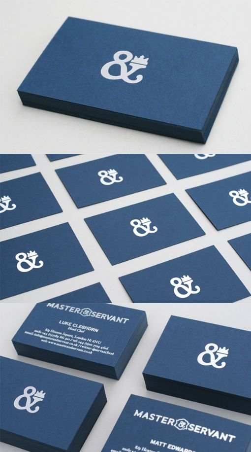 Classy Blue And Silver Minimalist Design Business Card For A Restaurant
