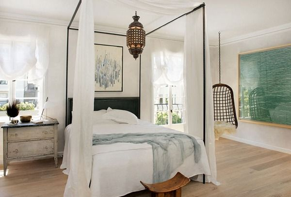 Image result for hanging light fixture in center of canopy bed