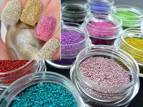 Caviar Nails Nail ART Pink Lilac Blue Gold Black Silver - 12 Colour Set | eBay
