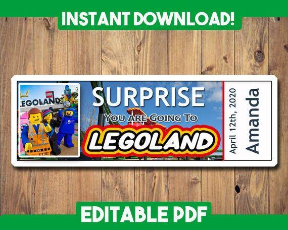 Legoland Boarding Pass Legoland Ticket Printable Customizable Template Custom Name Lego Land Legoland Legoland Boarding Pass In 2020 Legoland Custom Tickets Printable Tickets