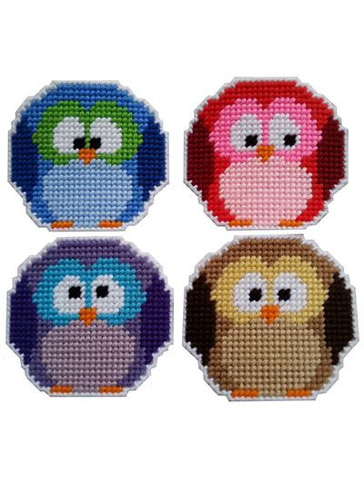 Plastic Canvas - Coaster Patterns - Animal Patterns - Roundy Owl Coasters