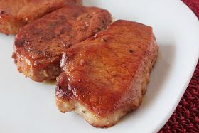 "Honey Garlic Baked Pork Chops        4 1"" thick boneless pork chops  salt and pepper to taste   3 tbs olive oil   1/4 cup honey   2 tbs..."