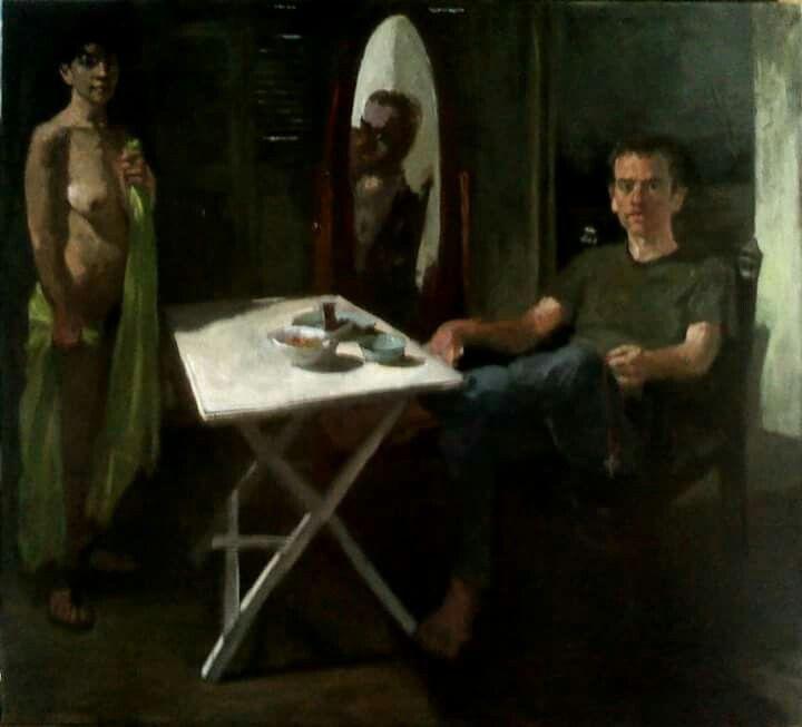 portret of pavlos ioannidis, by nikos christoforakis, oil on camvas.
