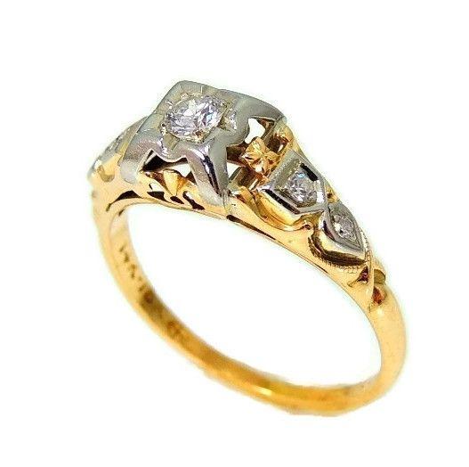 Vintage Deco Diamond Engagement Ring 14k 18k Gold Bluebird Diamond - Premier Estate Gallery  - 4