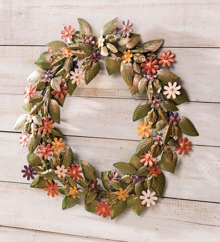 Handmade Recycled Metal Floral Wreath | Wreaths