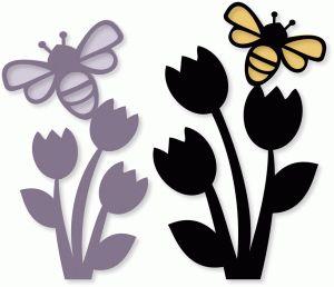 Silhouette Design Store - View Design #77384: bee tulips