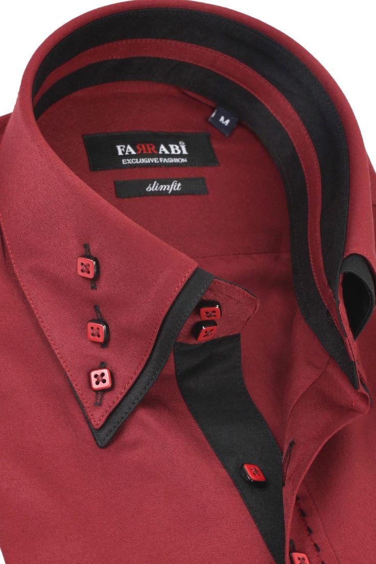 Mens Double Collar Maroon Dress Shirt | Farrabi Slim Fit | Exclusive Luxury Shirts