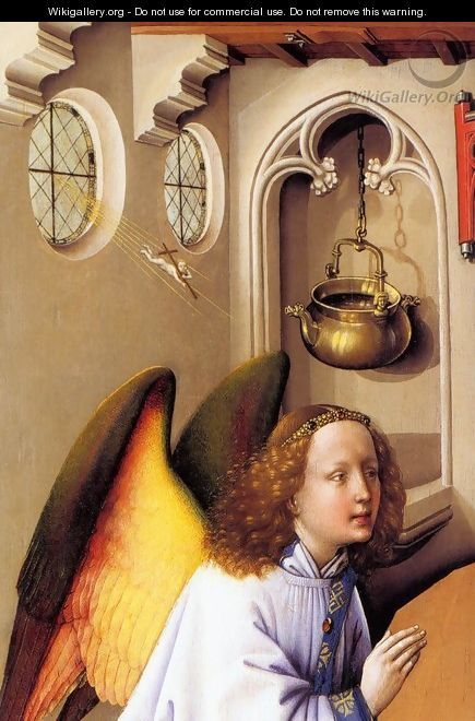 Merode Altarpiece (detail) - (Robert Campin) Master of Flémalle ---- He created figures in different forms with sculptural motif and introduced new style of Ars Nova.