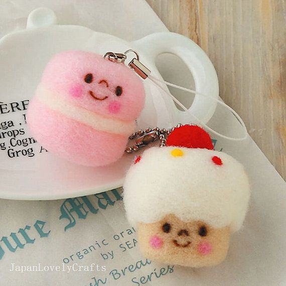 Macaron + Cupcake Sweets Strap - Japanese Needle Acrylic Fiber Felt DIY Kit - Hiromi Shibatani - Kawaii Hamanaka Aclaine - JapanLovelyCrafts