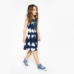 Vestido niña, azul con piña
