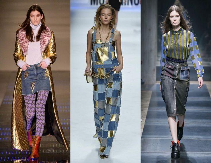 Au Jour Moschino Marco De Vincenzo Jeans Gold Milan Fashion Week Patchwork Denim