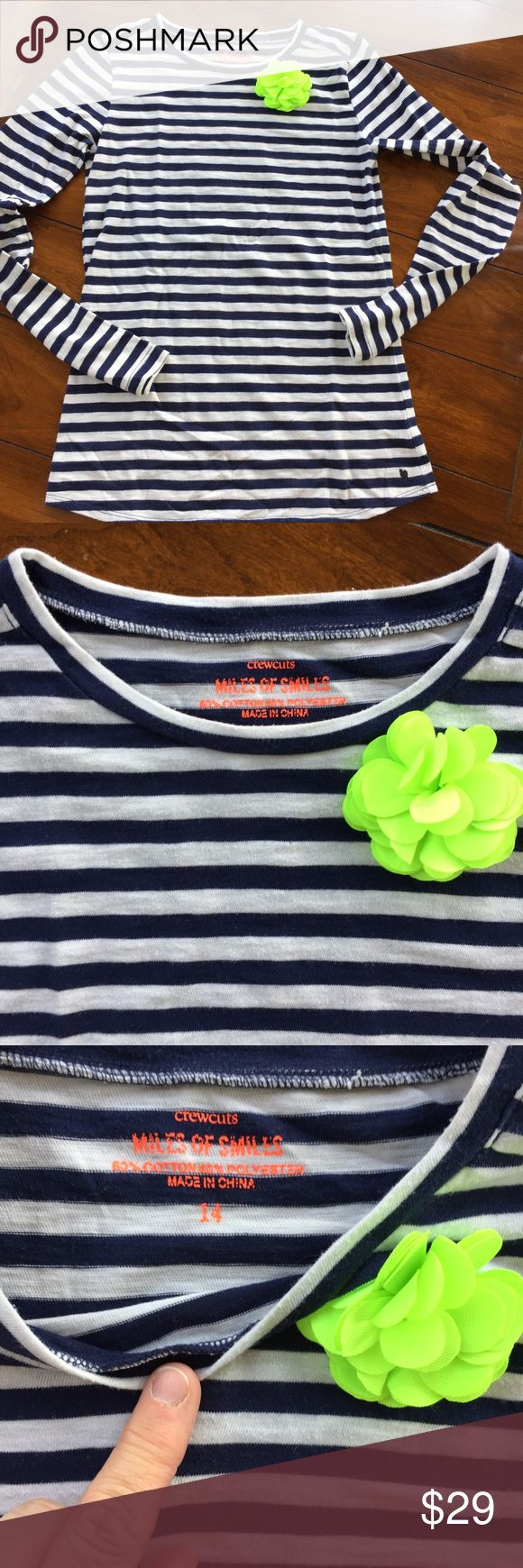 J CREW girl's top like new. Size 14 Such a cute j crew top for girl's. Navy and white stripe with flower detail at neckline. Like new. Size 14 J. Crew Shirts & Tops