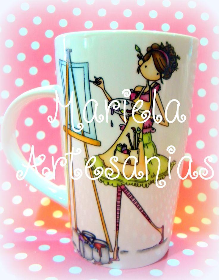 taza pintada a mano,diseño nena pintora