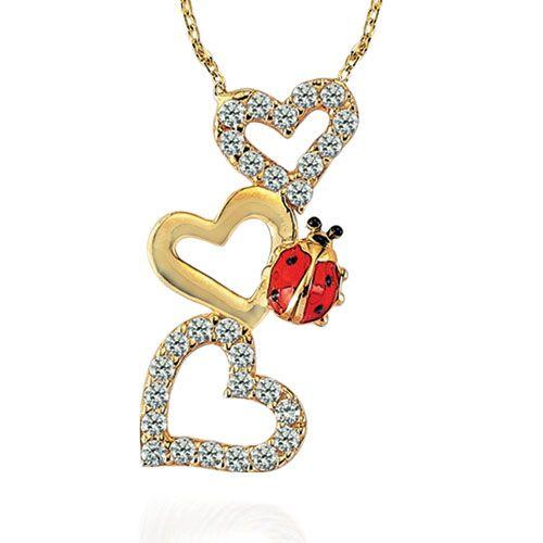 Altın Kolye - 14 Ayar Glorria Uğur Böceği-Üç Kalp Altın Kolye - CN0073