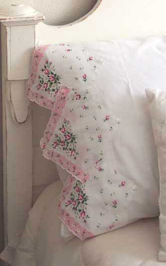 Pillowcase edge with dainty vintage hankie.