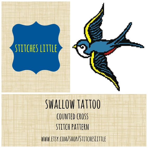 Retro Modern Cross Stitch Pattern - Swallow Tattoo - PDF - Instant Download on Etsy, $3.00