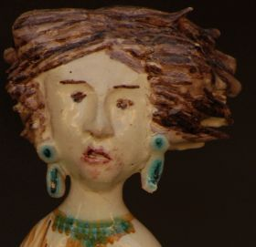 """The goddesses II - Majolica and ceramic of Studio d'arte ceramica Pinto Statuette of the collection """"Goddesses of the Full Moon"""" - made entirely with clay sculpted, molded and painted by hand, cooking in the oven at more than 1,000 degrees."""