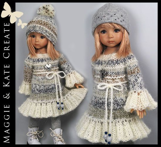 "Winter Dress Outfit for Little Darlings Effner 13"" Maggie & Kate Create"