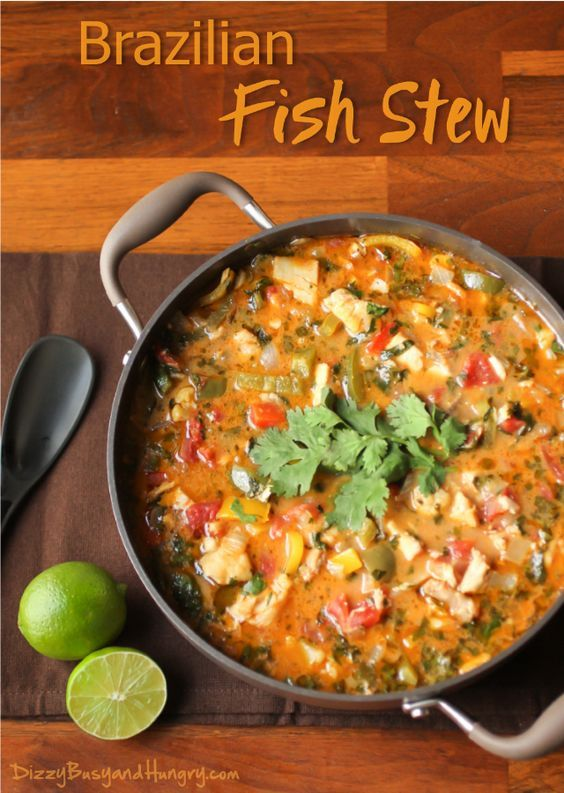Brazilian Fish Stew | DizzyBusyandHungry.com - Flavorful stew with marinated tilapia, bell peppers, tomatoes, and onions in a coconut milk broth. #fish #stew #coconutmilk