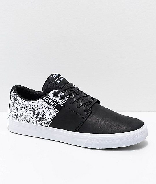 78116248990c Supra x Disney Stacks II Vulc All 7 Black   White Skate Shoes in ...