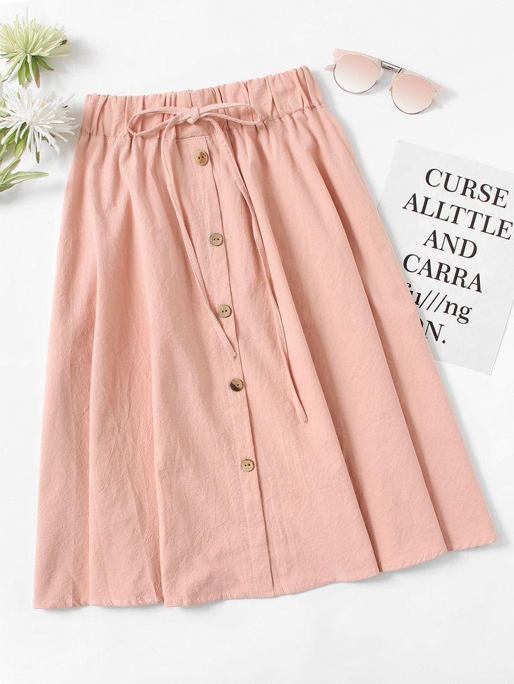 Drawstring Waist Button Front Skirt