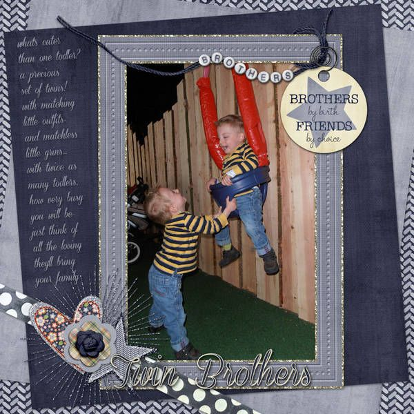 Twin Brothers.  Credits: Siblings Are Forever {kit} + {mini ad-on} by Trixie Scraps Designs     Corneria Script {font}    #gottapixel #trixiescrapsdesigns