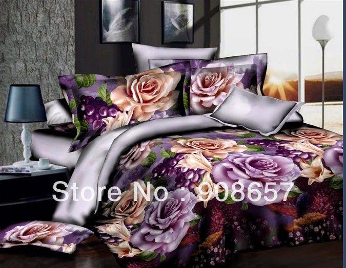 purple coral floral print discount 3D queen full comforter girls quilt duvet doona covers bedding bed sheet set cheaper bedlinen