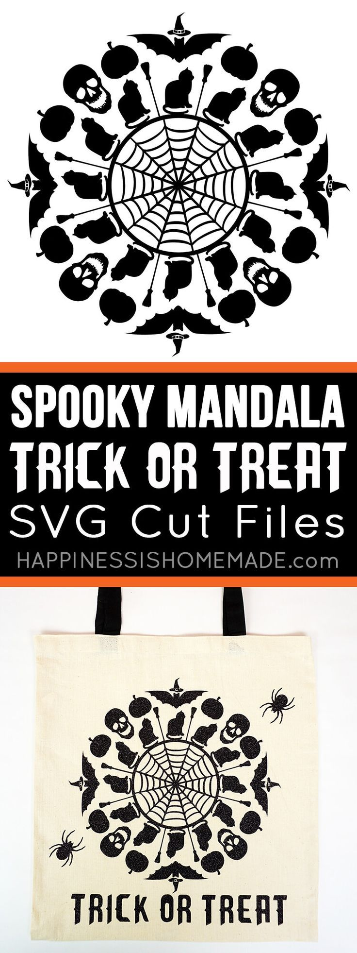 Use these awesome Halloween SVG files to make a Spooky Mandala Trick or Treat Bag! Plus, get an awesome bundle deal on TEN incredible Halloween SVG files – on SALE and available ONLY for the month of September! Perfect for décor, mugs, totes, t-shirts, and anything else you can imagine!