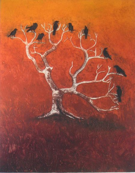 """Crow Tree .... by Hester Cox. Collagraph & relief print, (edition of 35), 11 3/4"""" x 15"""", £140"""