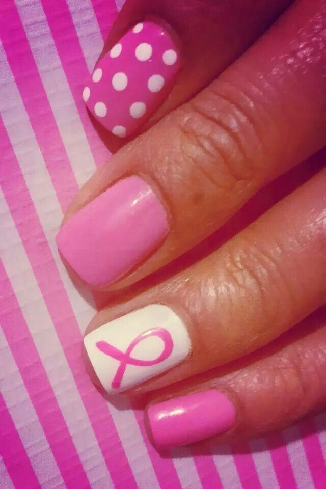 Super cute breast cancer awareness nails